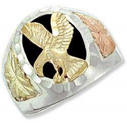 Black Hills Gold Sterling Silver Onyx Eagle Mens Ring