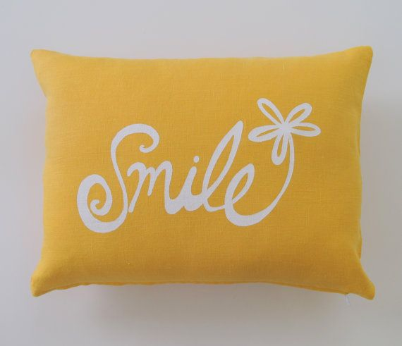 Pillow Cover. Cushion Cover. Smile Flower in White on Mustard Yellow linen - 12 x 16 inches by Sweetnature Designs. $26.00, via Etsy.