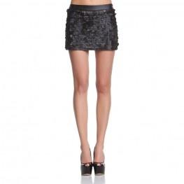 Low waist miniskirt with pu leather spangles http://shop.mangano.com/en/skirts/16395-gonna-ebony-paillettes-pu-nero.html  #skirt #paillettes #apparel #clothing #woman #black #mangano