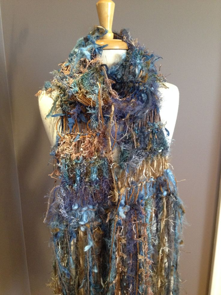 Knit Art Scarf- Dumpster Diva Series 'Cowgirl Blues' -Funky fringed boho scarf, shoulder wrap, blue scarves, hand knit scarves, tribal wrap by RockPaperScissorsEtc on Etsy