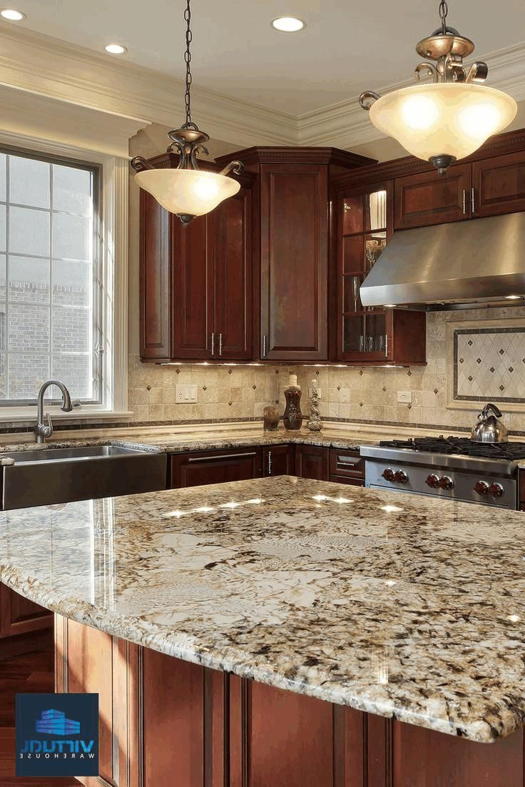 dark cherry wood kitchen cabinet cream marble backsplash tile with rh pinterest com