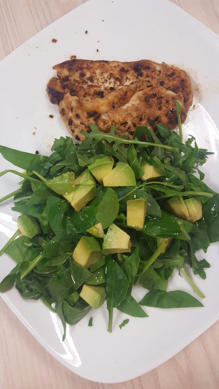 Peri peri chicken + Rocket, avocado, spinach salad + a lemon.salt, olive oil dressing