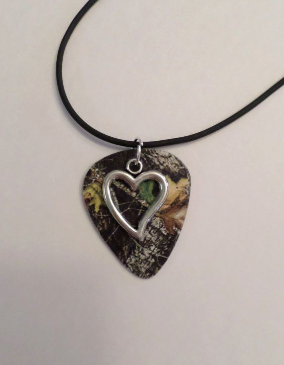 Mossy Oak Camo Camouflage guitar pick necklace with by Featherpick, $10.00