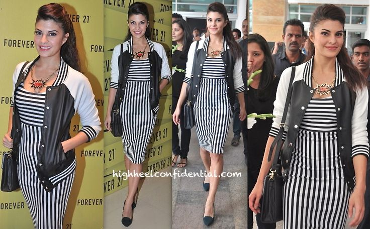 Jacqueline Fernandez At Forever 21 Store Launch - Stripes Galore  #highheelconfidential #forever21