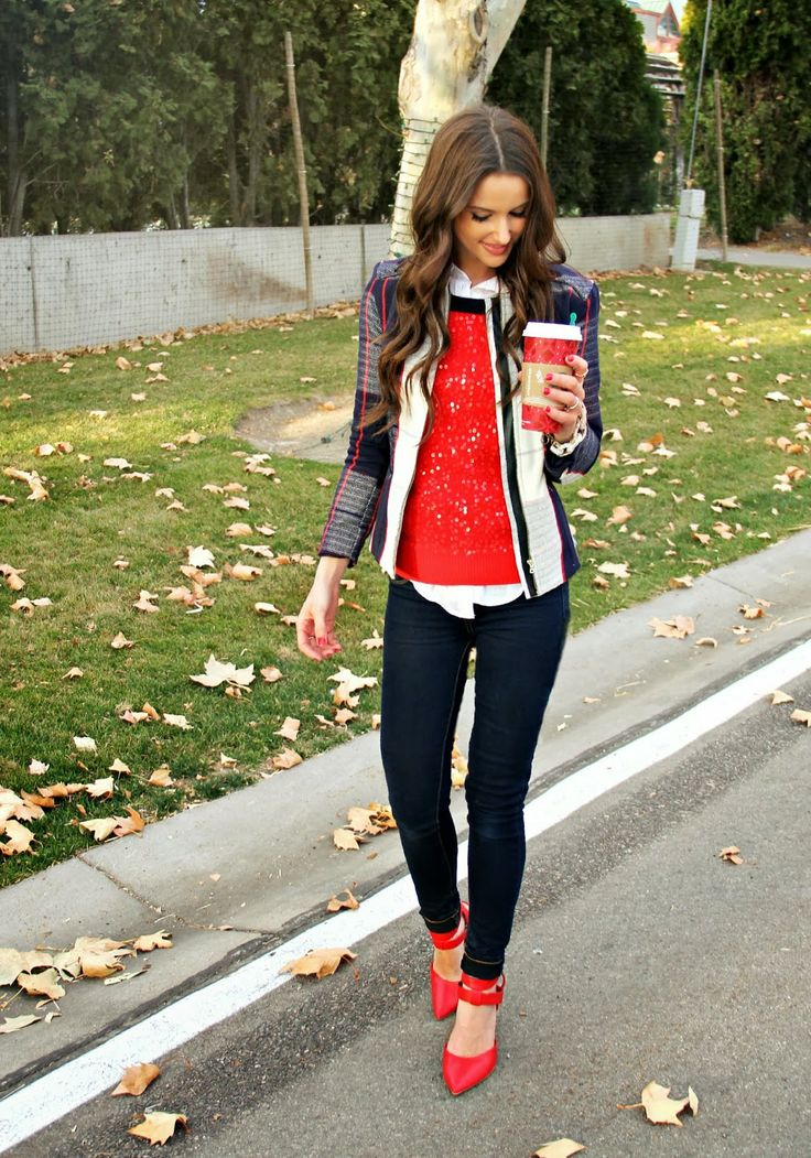 Kiss Me Darling red sequin sweater, red heels, plaid blazer, plaid jacket