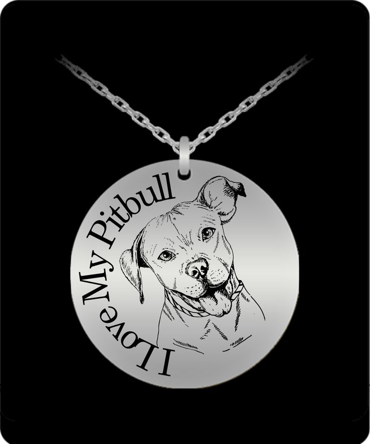 **Laser Engraved I Love My Pitbull Dog Lover Pendant Necklace.  This Beautifully engraved Pit Bull makes a Cool Pitbull Lover Gift Necklace.      **Beautiful Detailed Engraving with your Choice of Stainless Steel or 18K Gold Plated.     **Cute Pitbull laser engraved pendant and necklace Jewelry for the Pit Lover.
