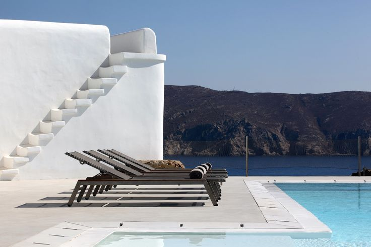#Villa Solana - #Mykonos - #Greece The structure of this villa superficially resembles a simple Cycladic construct, however, it features spacious, cutting- edge minimal modern interiors, which can comfortably accommodate up to 10 people in two separate and fully independent levels. Amazing sea views can be enjoyed from most living quarters.
