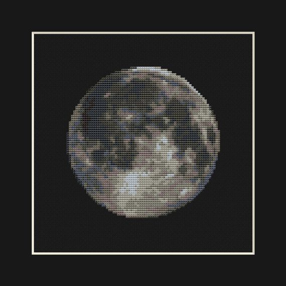 Moon Cross Stitch Pattern PDF  Planet Solar by EasyStitchForFun