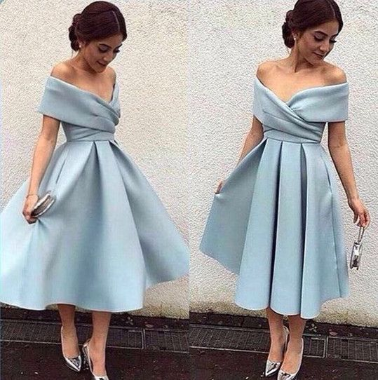 Off Shoulder Blue Evening Gowns,V Neck Short Prom Dress,Elegant Tea Length Evening Dress,Dusty Blue Bridesmaid Dress,Satin Bridesmaid Dress,Satin Prom Dress