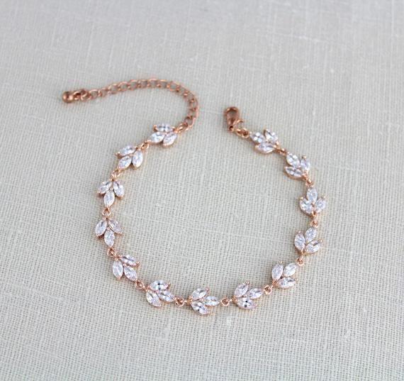 Rose Gold Bracelet Bridal Bracelet Bridal Jewelry Rose Gold Jewelry Tennis Bracelet Simple Bracelet Bridal Bracelet Simple Bridal Jewelry Bridal Earrings