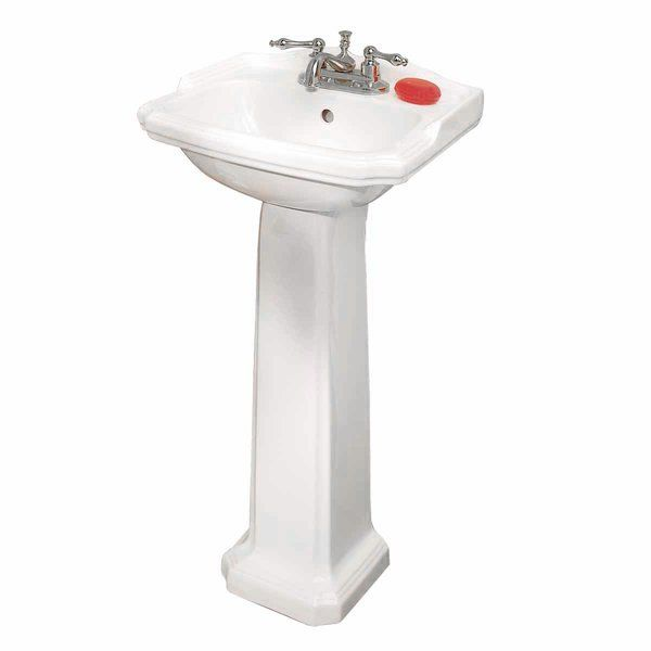 Cloakroom Vitreous China 19 Pedestal Bathroom Sinks With Overflow
