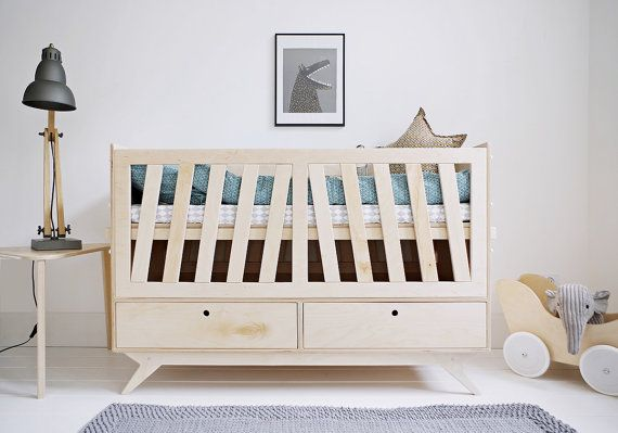 NEST. a scandinavian, plywood babys crib. * designed by Wood Republic   NEST is a dynamic babys crib that grows together with your child. It is an ideal and peaceful companion for sleep, dreams, plays and big ideas of a toddler!  NEST is a bed engaged in the development of your kid. Depending on you needs and your childs age, you can easily adapt and choose the best level of the mattress. When your kid will grow up a little bit, you can dismantle the two side walls with barriers! NEST will…