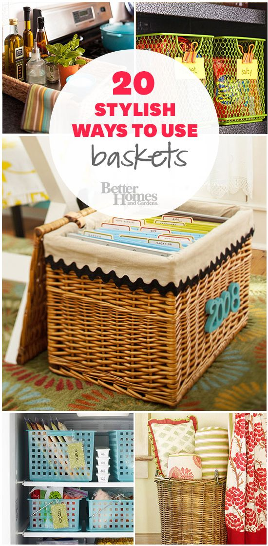 We love #baskets! Learn 20 stylish and handy ways to use them: http://www.bhg.com/decorating/storage/organization-basics/storage-solutions-using-baskets/