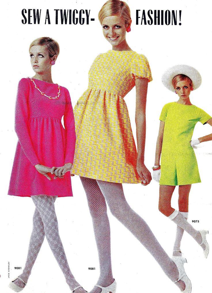 Twiggy models dresses in McCall's, 1968. www.vintageclothin.com