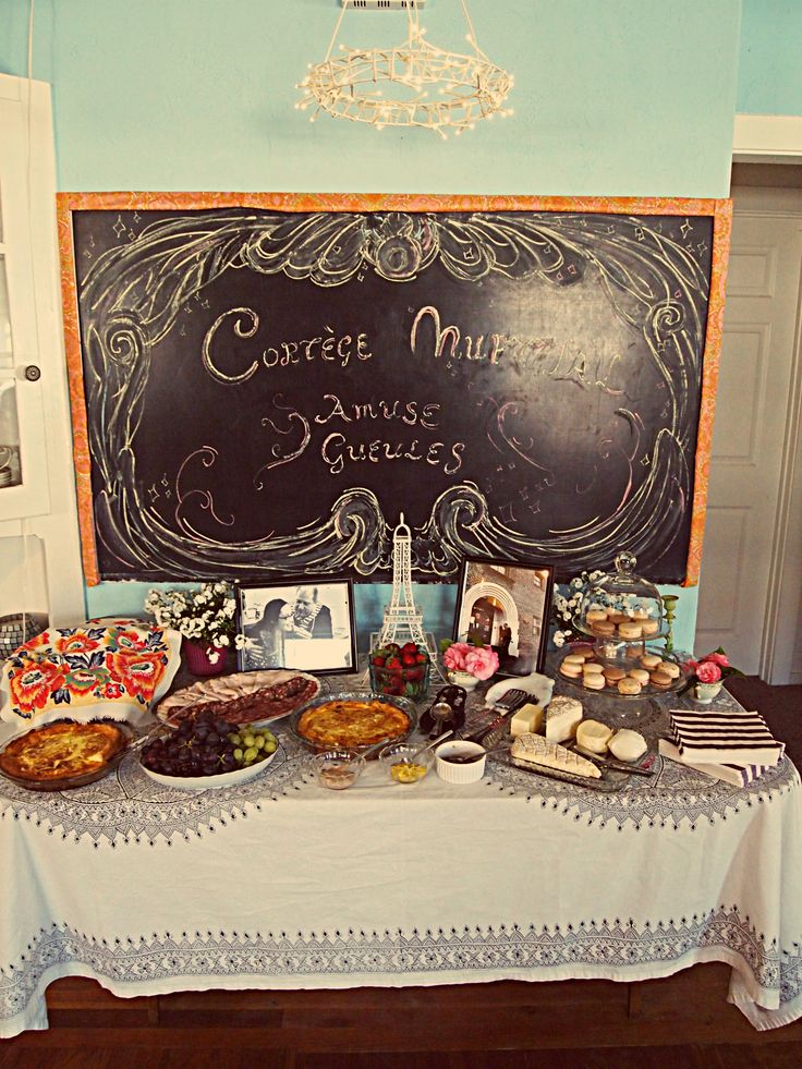 """Paris themed bridal shower. The chalkboard says """"Bridal Shower, finger foods"""" in french. #Parisian #Parisianbridalshower #bridalshower"""