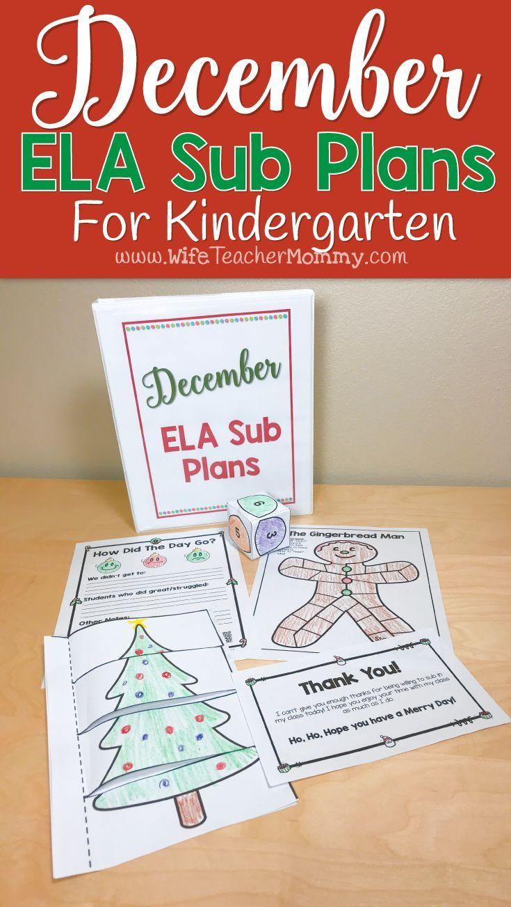 December Sub Plans Ela For Kindergarten Christmas Themed Emergency Sub Plans Teaching Elementary Sub Plans