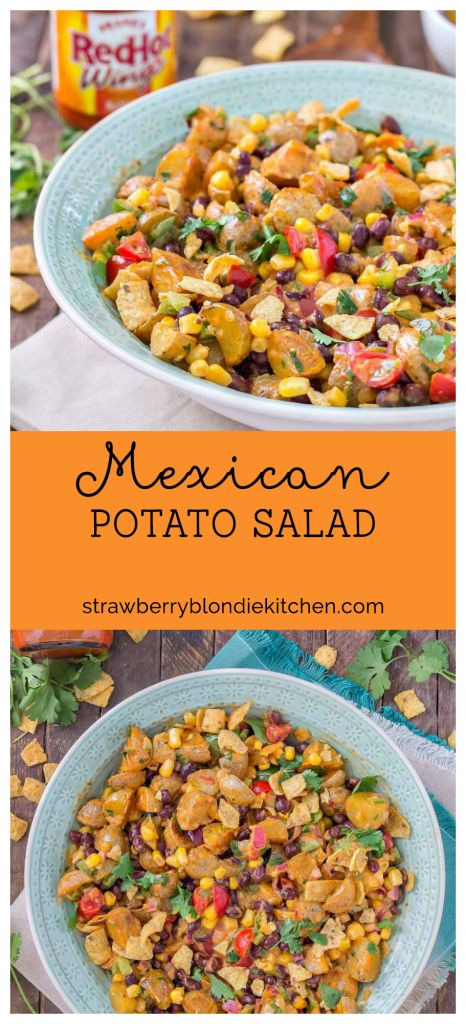 This Mexican Potato Salad is bursting with delicious flavor. Corn, black beans, cherry tomatoes, cilantro and Frank's Redhot Buffalo Wing Sauce make for one amazing side dish for all your summertime gatherings.   Strawberry Blondie Kitchen AD     #RedHotSummer #IPSTOE #CollectiveBias