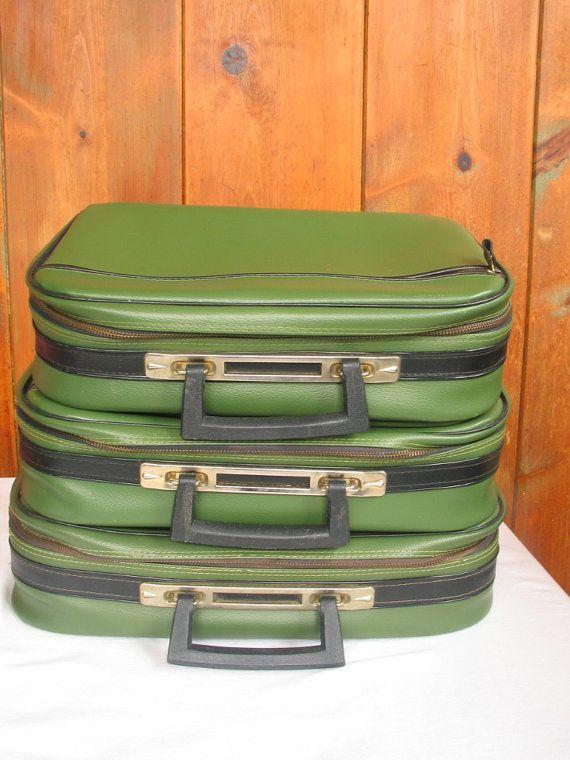 Vintage bagages Trio avocat doux face Nesting par PinkyLaRoux