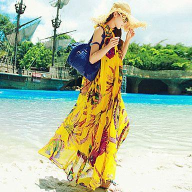 女性のボヘミアンマキシビーチドレス – USD $ 42.24