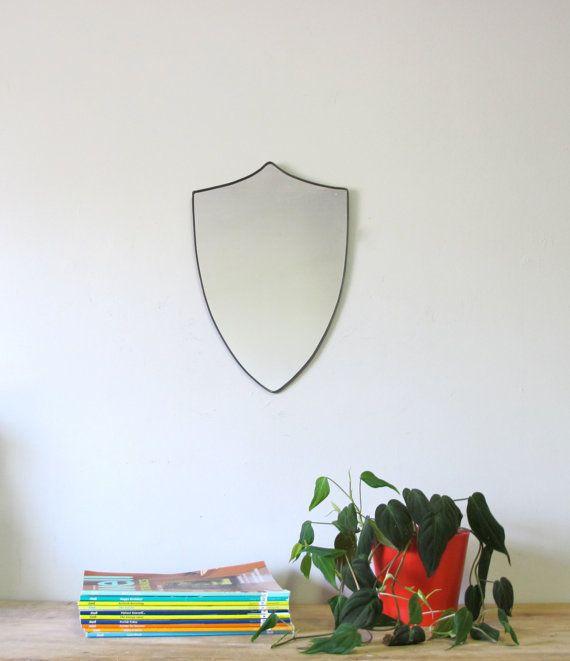 SALE / / / Shield Mirror Crest Mirror Handmade Mirror by fluxglass, $50.00