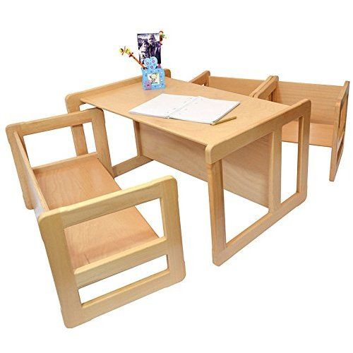 3 in 1 Children's Multifunctional Furniture Set of 4, Two Small Chairs or Tables and One Small Bench or Table and One Large Bench or Table Beech Wood, Natural