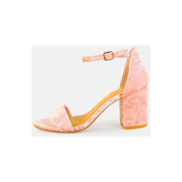 SheIn(sheinside) Crushed Velvet Chunky Heels BLUSH ($33) ❤ liked on Polyvore featuring shoes, pumps, red, chunky-heel pumps, chunky heel pumps, red peep toe pumps, high heel shoes and high heel pumps