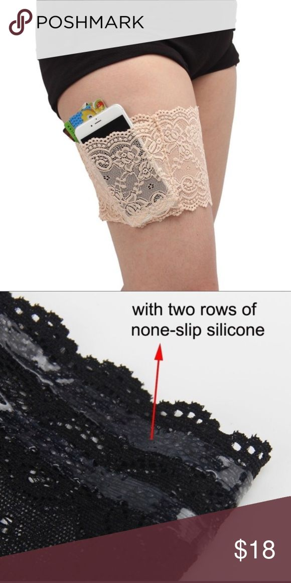⚡️RESTOCK!⚡️ New list! Sexy lace tighband pocket This band of perfect for when you want to go hands free! Has one pocket that is pocket size very based on and size but are around 5-5.5 inches by 4-4.4.5 inches feel free to ask for measurement of bands or pockets! It is very comfortable to wear, user friendly and does not cause chafed skin! Has two row on nonslip silicone! Hand wash only! Accessories Hosiery & Socks