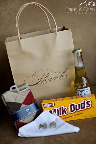 Groomsmen gifts!  Socks, Hankerchief, cufflinks, favorite beer/liquor, and candy