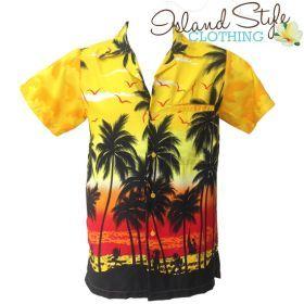 Group Matching Hawaiian Shirts Mens Hawaiian Shirts | Yellow Palms | Aloha Shirt Island Tropical Floral Clothing Luau Fancy Dress Costume