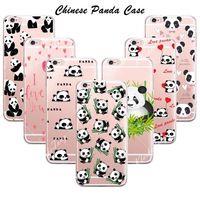 Cute Cartoon Animal Panda Case For Iphone SE 5 5S 6 6S Plus Transparent Silicone Phone Back Cover Coque