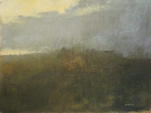 """Morning Fog at Clear Creek"" 2011  9-7/8"" x 13"" Watercolor & Gouache on Paper Original Painting by Nashville Artist Darryl Glenn Steele"