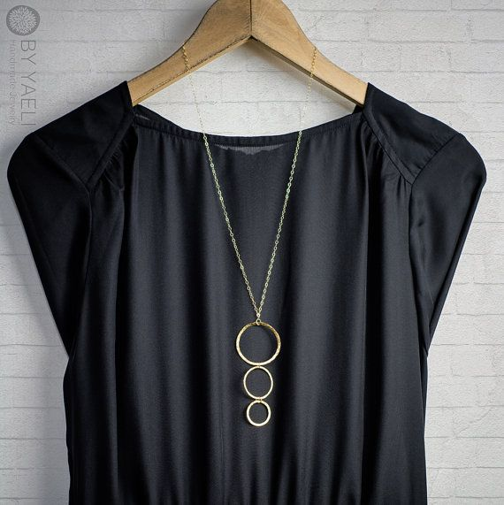 Gold necklace geometric necklace long necklace circles by ByYaeli