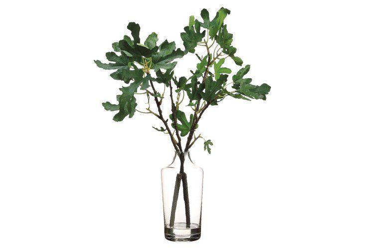 "31"" Fig Branch in Vase, Faux"