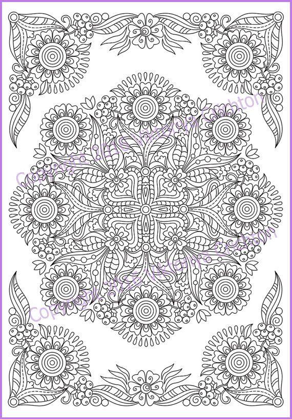Mandala Coloring Page Pdf Doodle Zentangle Art Pattern Etsy In 2020 Mandala Coloring Pages Mandala Coloring Coloring Pages