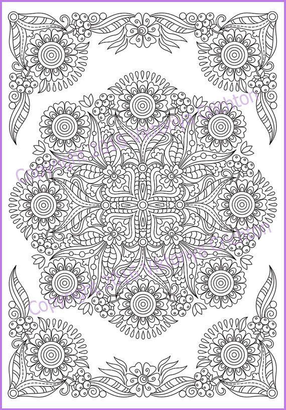 Mandala Coloring Page Pdf Doodle Zentangle Art Pattern