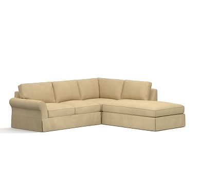Cheap Sectional Sofas PB Comfort Roll Arm Left Piece Bumper Sectional Slipcover Box Edge Performance