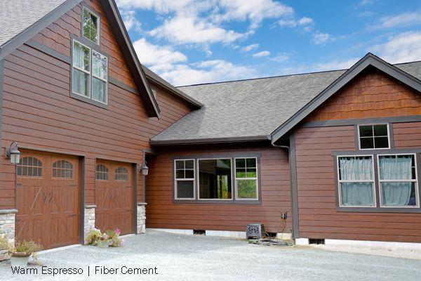 Woodtone fiber cement lap siding and shake panels - Rustic home exterior color schemes ...