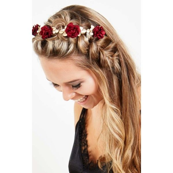 Johnny Loves Rosie Amelia Ornate Red Floral Crown ($46) ❤ liked on Polyvore featuring accessories, hair accessories, multicolour, flower garland headband, flower crown headband, flower hair accessories, head wrap headband and floral garland