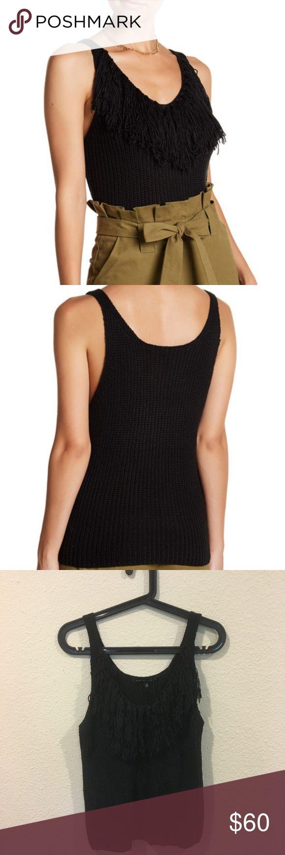 English Factory sleeveless fringe knit black tank Scoop neck sleeveless fringe blouse! From the Brighton The Day blog. No trades. English Factory Tops Blouses