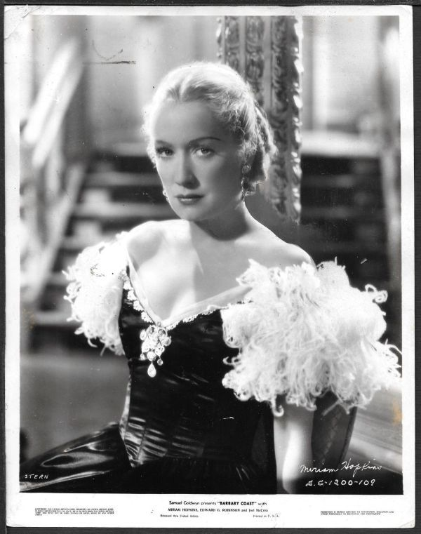 Miriam Hopkins Was An Unpleasant Diva On The Set Of Barbary Coast 1935 But Her Character Had Many Traits Of The Hawksian Woman Chapeau