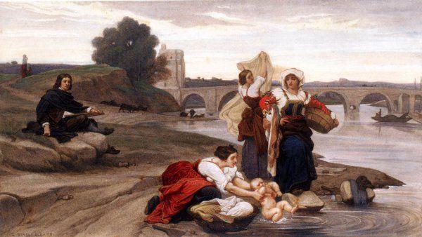 Nicolas Poussin On The Banks Of The Tiber