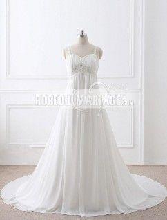 Robe de mariée bretelles fines col en coeur empire traîne balayée paillette