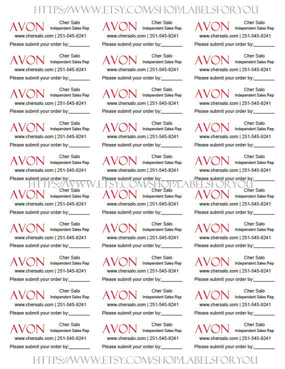 Personalized Labels for your AVON brochures with Submit order date.  Comes with your Name, AVON Independent Sales Representative, Phone and website URL and the image you see.  1 sheet contains 30 labels. Label size 1 x 2 5/8  Purchase as many SHEETS as you need. When you enter the quantity, please remember youre entering the number of SHEETS youd like to order, not labels.  Please send your personalized information through the contact seller. NAME, TITLE, Phone, Email and website URL
