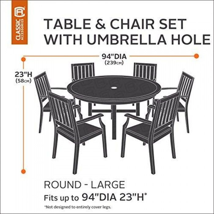 Classic Accessories Veranda Round Patio Table U0026 Chair Set Cover With  Umbrella Hole, Large Product Weight :
