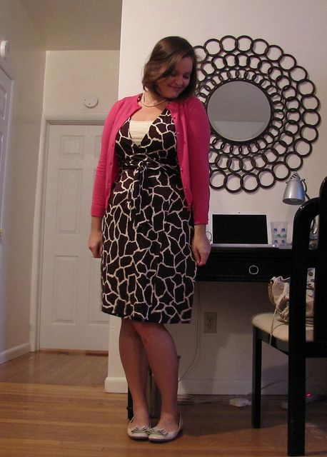 DVF wrap dress giraffe print styled with magenta cardigan and flats: Wrap Dress