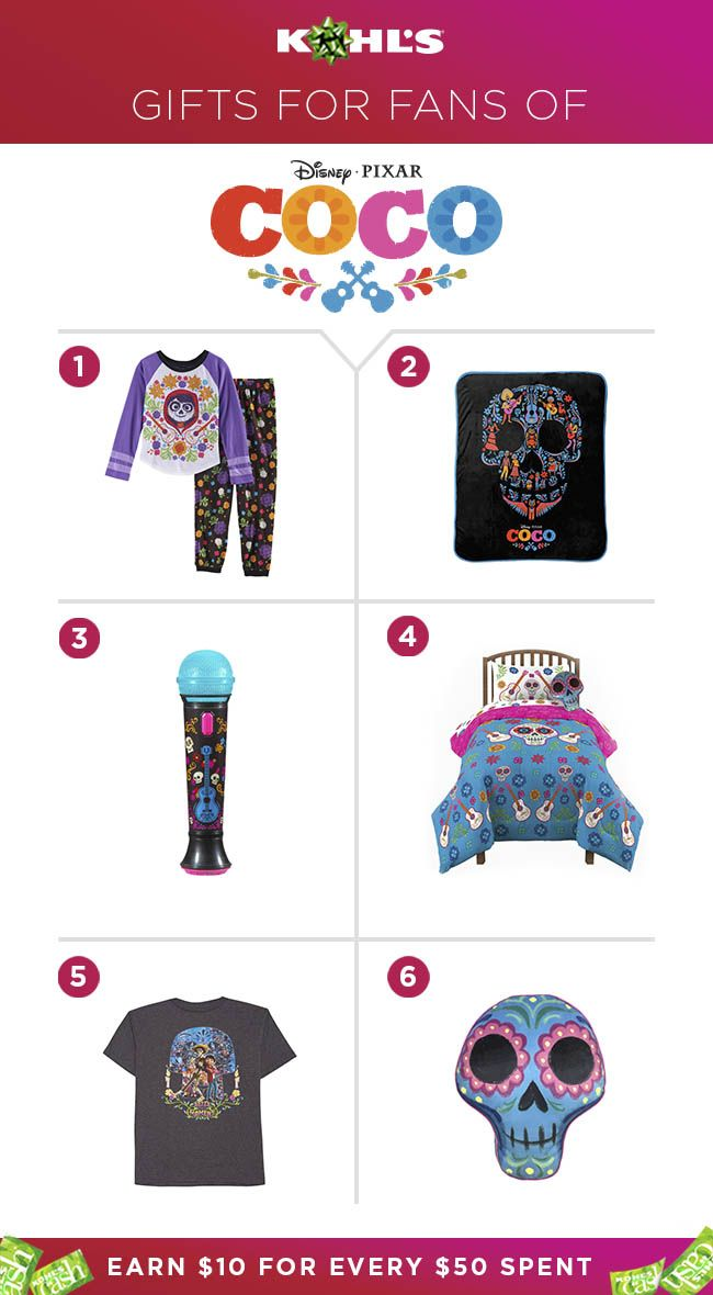 The newest Disney·Pixar movie is about to be your kids' new obsession. Get a jump start on their Christmas gift this year with the best Disney·Pixar's Coco gear. From pajamas and clothes to toys and bedroom decor, there's something for everyone. Plus, earn $10 Kohl's Cash for every $50 you spend. Shop Disney·Pixar's Coco gifts at Kohl's. #gifts #toys #kid