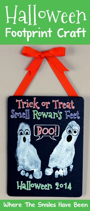 Halloween Footprint Craft via Where The Smiles Have Been.  Here's an easy and fun DIY craft project to do with your child for Halloween! #footprint #Halloween #Silhouette