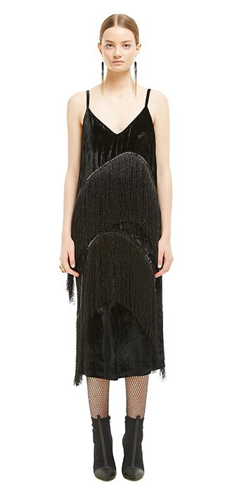 Платье-комбинация с бахромой