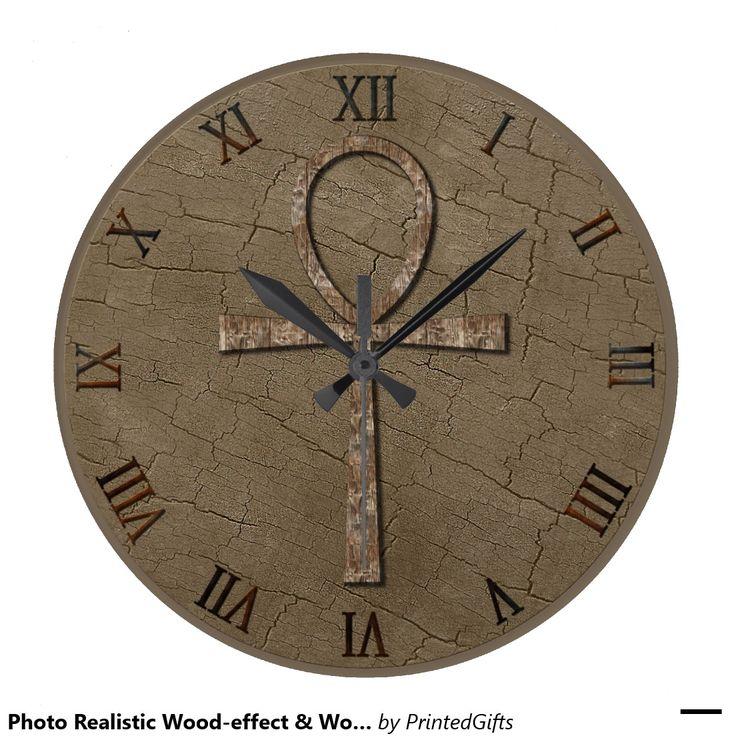 Photo Realistic Wood-effect & Wood-look Ankh Clock