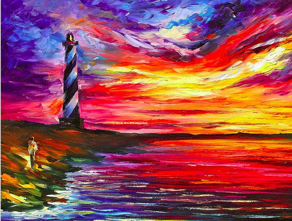 """Lighthouse — PALETTE KNIFE Contemporary SeaScape Oil Painting On Canvas By Leonid Afremov - Size: 30"""" x 24"""" inches (75 cm x 60 cm)"""
